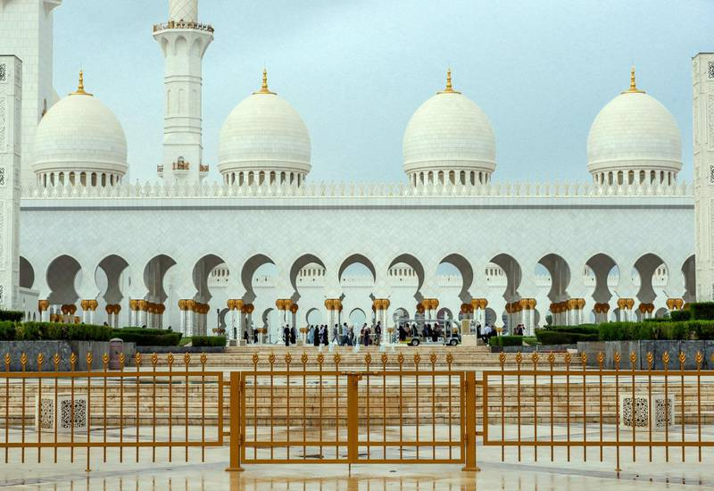 Abu Dhabi, April 13, 2019.  Rainy weather at the Grand Mosque --  After the rains.Victor Besa/The National.Section:  NA Reporter: