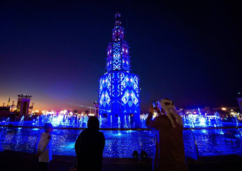 Abu Dhabi, United Arab Emirates, January 10, 2021.  Lights and sound display at the fountainarea at the Sheikh Zayed Festival.Victor Besa/The NationalSection:  NAReporter:  Saeed Saeed