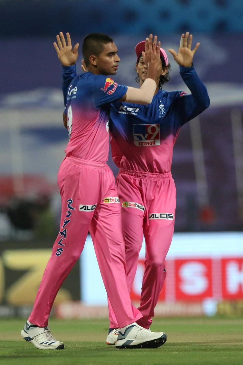 Kartik Tyagi of Rajasthan Royals celebrates the wicket of Quinton de Kock of Mumbai Indians during match 20 of season 13 of the Dream 11 Indian Premier League (IPL) between the Mumbai Indians and the Rajasthan Royals at the Sheikh Zayed Stadium, Abu Dhabi  in the United Arab Emirates on the 6th October 2020.  Photo by: Pankaj Nangia  / Sportzpics for BCCI