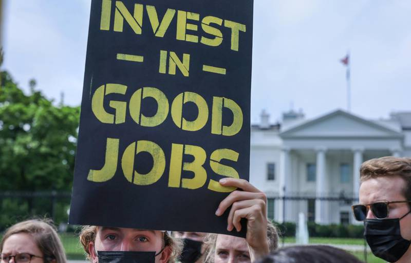 The Sunrise Movement holds a protest outside the White House demanding action on climate change and green jobs in Washington, U.S., June 4, 2021. REUTERS/Evelyn Hockstein