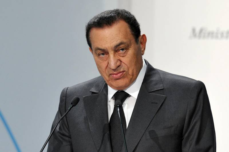 Egyptian President Hosni Mubarak makes a speech during the Economic and Financial Forum for the Mediterranean, in Milan on July 20, 2009.  AFP PHOTO / GIUSEPPE CACACE (Photo by GIUSEPPE CACACE / AFP)