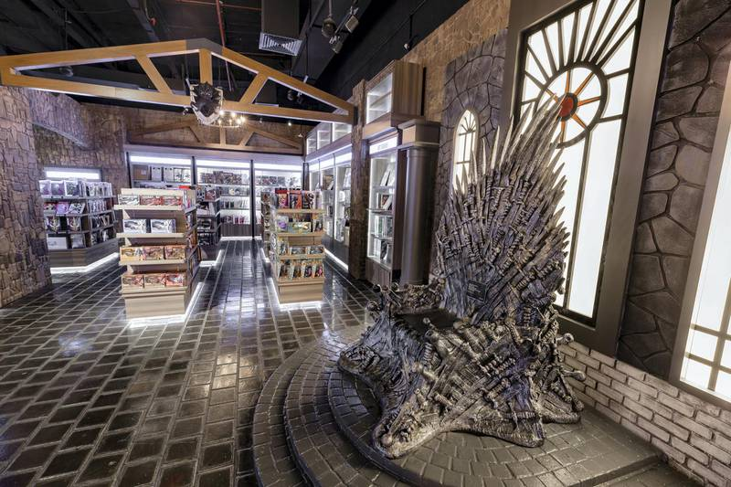Dubai, United Arab Emirates - May 26, 2019: Photo Project. Game of Thrones Iron throne. Comicave is the WorldÕs largest pop culture superstore involved in the retail and distribution of high-end collectibles, pop-culture merchandise, apparels, novelty items, and likes. Thursday the 30th of May 2019. Dubai Outlet Mall, Dubai. Chris Whiteoak / The National