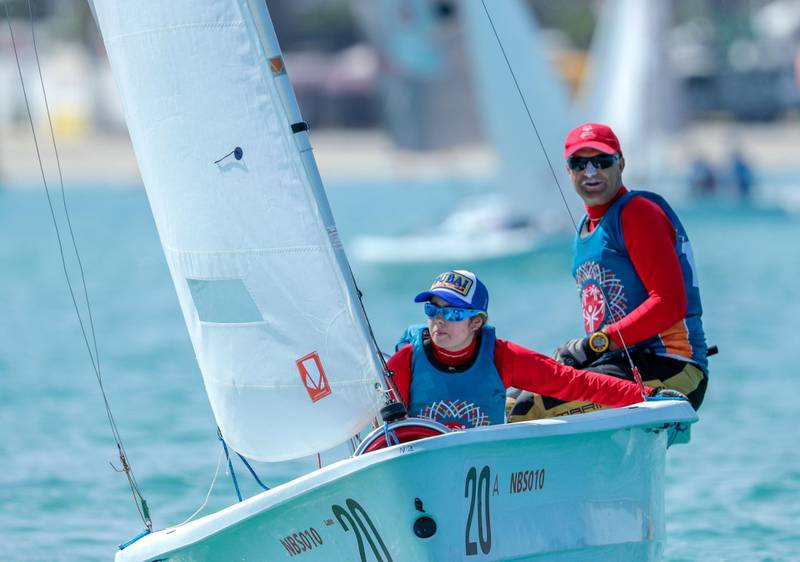 Abu Dhabi, March 20, 2019.  Special Olympics World Games Abu Dhabi 2019.  Sailing Level 1. Desiree Boesch and Josef Furlan of Austria in action.Victor Besa/The National