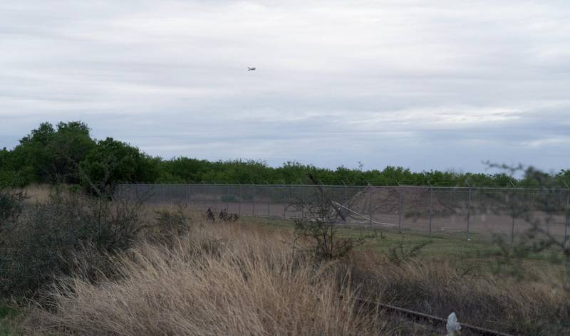 A surveillance blimp floats over the US Mexico Border area outside of La Joya, Texas. Willy Lowry/ The National