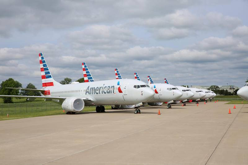 American Airlines Boeing 737 MAX jets sit parked at a facility in Tulsa, Oklahoma, U.S., May 10, 2019.  Photo taken May 10, 2019. American Airlines/Handout via REUTERS    ATTENTION EDITORS - THIS IMAGE WAS PROVIDED BY A THIRD PARTY  NO RESALES, NO ARCHIVE