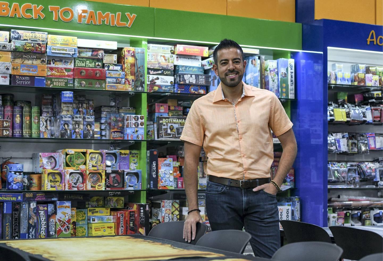Abu Dhabi, United Arab Emirates - Mark Azzam, founder of Back to Games at Al Wahda mall. Khushnum Bhandari for The National
