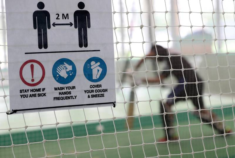 Dubai, United Arab Emirates - Reporter: Paul Radley. Sport.  The UAE cricket team are back at training at the ICC academy after the government have eased restrictions due to Coivd-19/Coronavirus. Sunday, June 7th, 2020. Dubai. Chris Whiteoak / The National