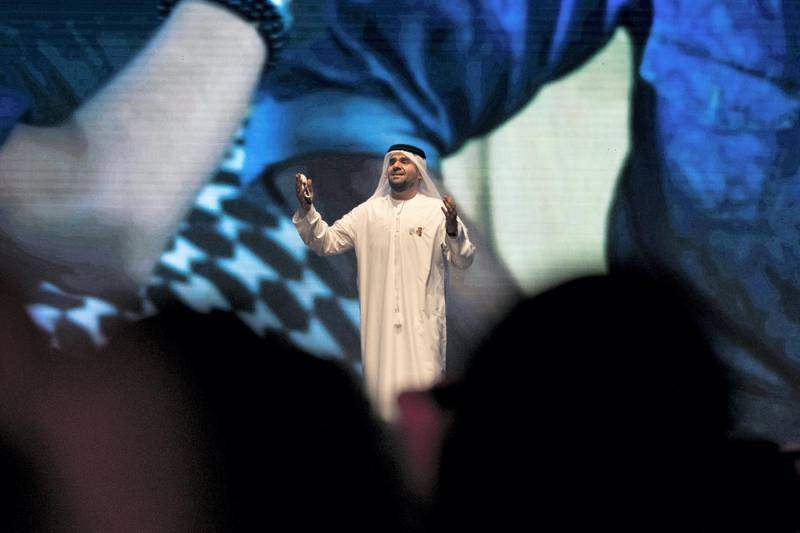 """DUBAI, UNITED ARAB EMIRATES - MAY 14, 2018.   Hussain Al Jasmi performs at the Arab Hope Makers award.  Arab Hope Makers Award is  in its second year. The award was launched by Sheikh Mohammed bin Rashid in 2017. It seeks out inspirational stories from across the world and is presented to an individual in recognition of their """"heroic"""" good deeds.  The committee received more than 87,000 entries this year.  (Photo by Reem Mohammed/The National)  Reporter: Nawal Section: NA"""