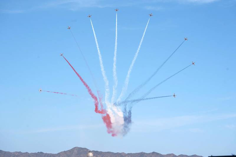 BERENICE, EGYPT - January 15, 2020: Egyptian military aircraft performs during the opening ceremony of BereniceMilitary Base.  ( Mohamed Al Hammadi / Ministry of Presidential Affairs ) —