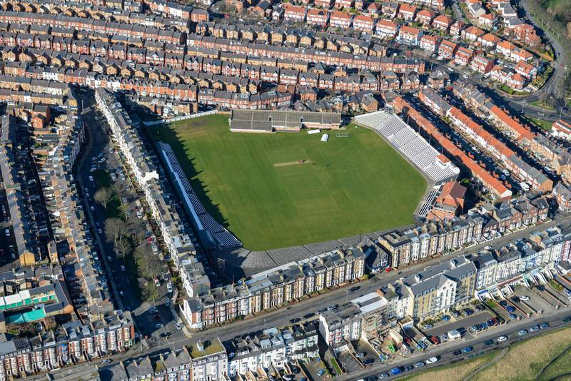 F99G5X An aerial view of the North Marine Road ground, a cricket ground in Scarborough, North Yorkshire