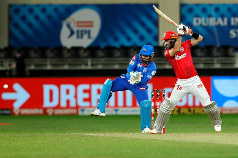 Glenn Maxwell of Kings XI Punjab batting during match 38 of season 13 of the Dream 11 Indian Premier League (IPL) between the Kings XI Punjab and the Delhi Capitals held at the Dubai International Cricket Stadium, Dubai in the United Arab Emirates on the 20th October 2020.  Photo by: Saikat Das  / Sportzpics for BCCI