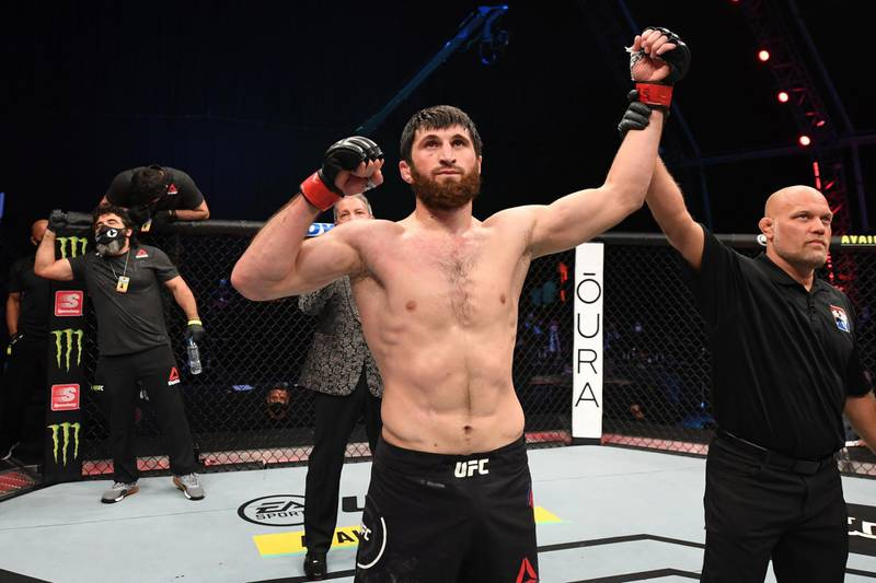 ABU DHABI, UNITED ARAB EMIRATES - OCTOBER 24:  Magomed Ankalaev of Russia celebrates his KO victory over Ion Cutelaba of Moldova in their light heavyweight bout during the UFC 254 event on October 24, 2020 on UFC Fight Island, Abu Dhabi, United Arab Emirates. (Photo by Josh Hedges/Zuffa LLC via Getty Images)