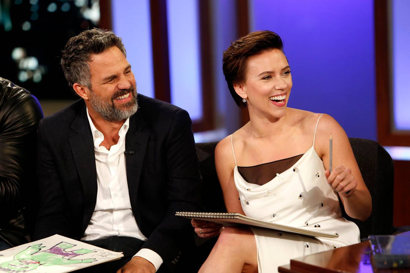 """JIMMY KIMMEL LIVE! - """"Jimmy Kimmel Live!"""" airs every weeknight at 11:35 p.m. EDT and features a diverse lineup of guests that include celebrities, athletes, musical acts, comedians and human interest subjects, along with comedy bits and a house band. The guests for Tuesday, April 24 included Mark Ruffalo, Scarlett Johansson, Tom Hiddleston, Danai Gurira and Dave Bautista (""""Avengers: Infinity War""""), and musical guest Bleachers. (Randy Holmes via Getty Images) MARK RUFFALO, SCARLETT JOHANSSON"""