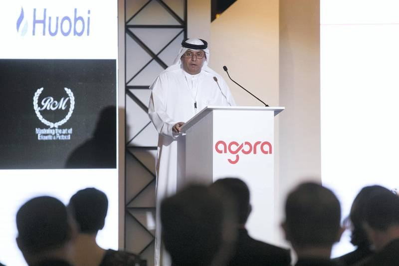 DUBAI, UNITED ARAB EMIRATES - DECEMBER 19, 2018. Dr Obaid Al Zaabi, CEO, Securities & Commodoies Authority, UAE, speaking at the Global Blockchain Congress, held at Intercontinental Festival City(Photo by Reem Mohammed/The National)Reporter: Section:    BZ