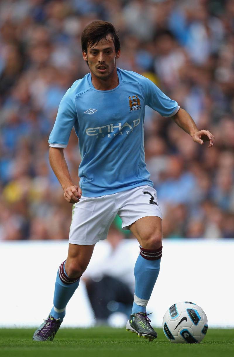 MANCHESTER, ENGLAND - AUGUST 07:  David Silva of Manchester City during the pre-season friendly match between Manchester City and Valencia at the City of Manchester Stadium on August 7, 2010 in Manchester, England.  (Photo by Alex Livesey/Getty Images)