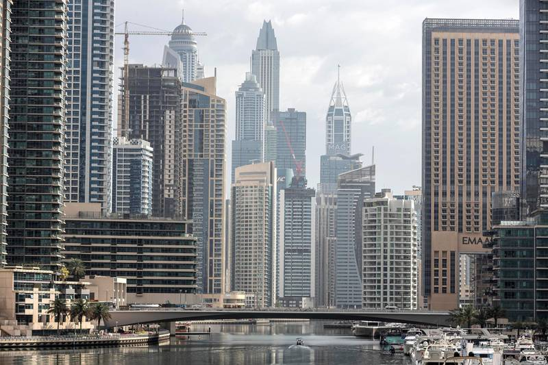 DUBAI, UNITED ARAB EMIRATES. 16 APRIL 2020. Rain that fell overnight in Dubai with the possibility of ongoing showers during the day. A hazy view of the Dubai Marina canal. (Photo: Antonie Robertson/The National) Journalist: STANDALONE. Section: National.