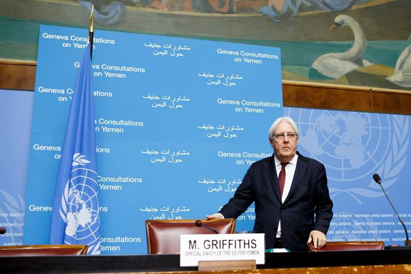 epa07004879 Martin Griffiths, UN Special Envoy for Yemen, attends a new press conference on the Geneva Consultations on Yemen, at the European headquarters of the United Nations in Geneva, Switzerland, 08 September 2018. A Yemeni Houthi delegation is still stranded in Yemen's capital Sana'a saying UN efforts to guarantee safe passage were not met in order to get peace talks going. A fresh round of UN-sponsored peace talks on the war in Yemen were scheduled to start on 06 September, a Yemeni government delegation is already present in Geneva.  EPA/SALVATORE DI NOLFI