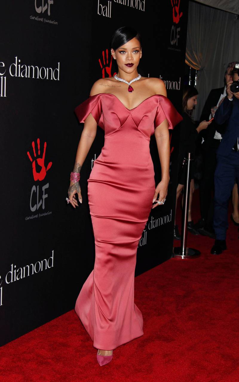 epa04526010 Barbadian Singer Rihanna arrives for the  first annual Diamond Ball of her Clara Lionel Foundation (CLF), at The Vineyard in Beverly Hills, California, USA, 11 December 2014. Robyn 'Rihanna' Fenty founded the Clara Lionel Foundation (CLF) in 2012, in honor of her grandparents, Clara and Lionel Brathwaite. CLF's grants fund efforts promote health, education, arts and culture globally.  EPA/JIMMY MORRIS