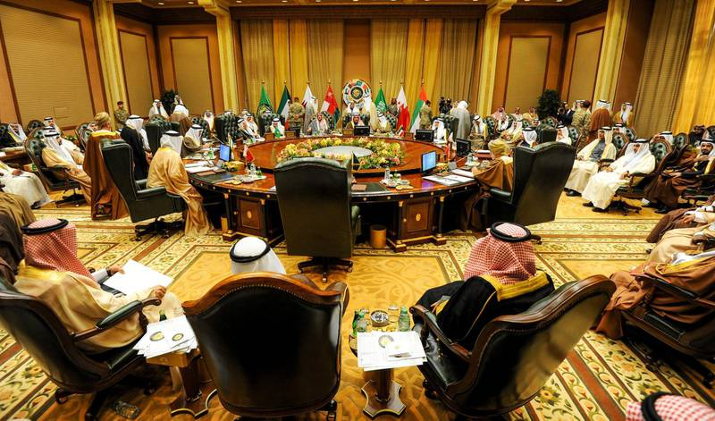 epa06366478 A general view of the foreign ministers meeting ahead of the 38th Gulf Cooperation Council (GCC) Summit, at Bayan palace in Kuwait City, Kuwait, 04 December 2017. Gulf Cooperation Council (GCC) Foreign Ministers held their 144th meeting ahead of the 38th Summit on 05 and December.  EPA/NOUFAL IBRAHIM