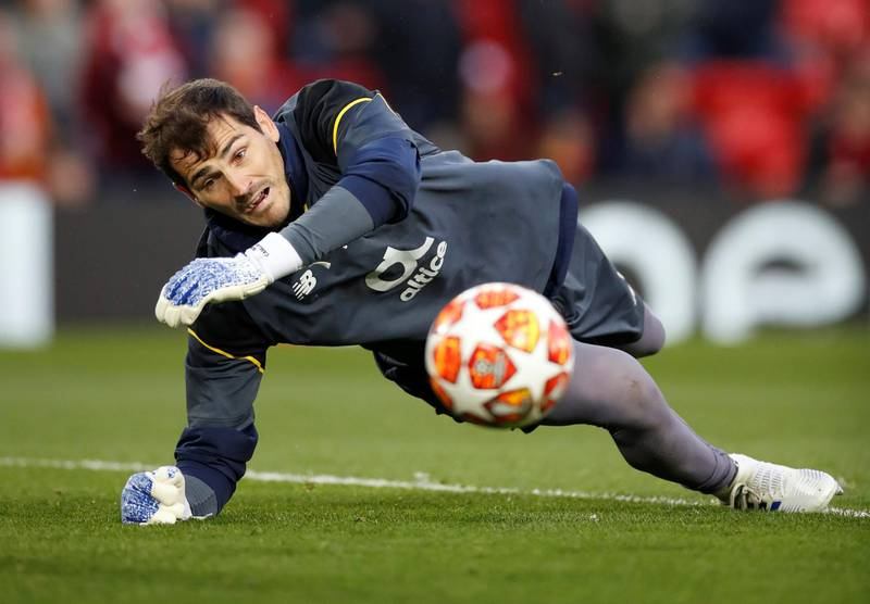 Soccer Football - Champions League Quarter Final First Leg - Liverpool v FC Porto - Anfield, Liverpool, Britain - April 9, 2019  FC Porto's Iker Casillas during the warm up before the match  Action Images via Reuters/Carl Recine