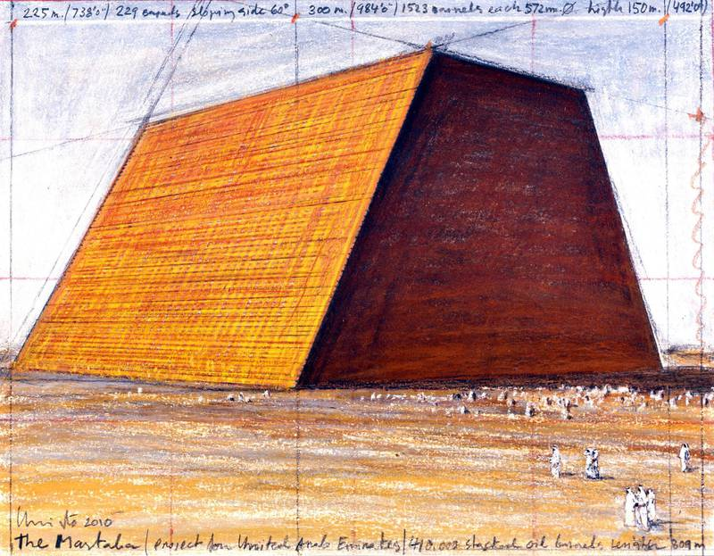 This is a new drawing of The Mastaba done in 2010 by Christo. Photo is by Andre Grossman. Copyright Christo 2010.