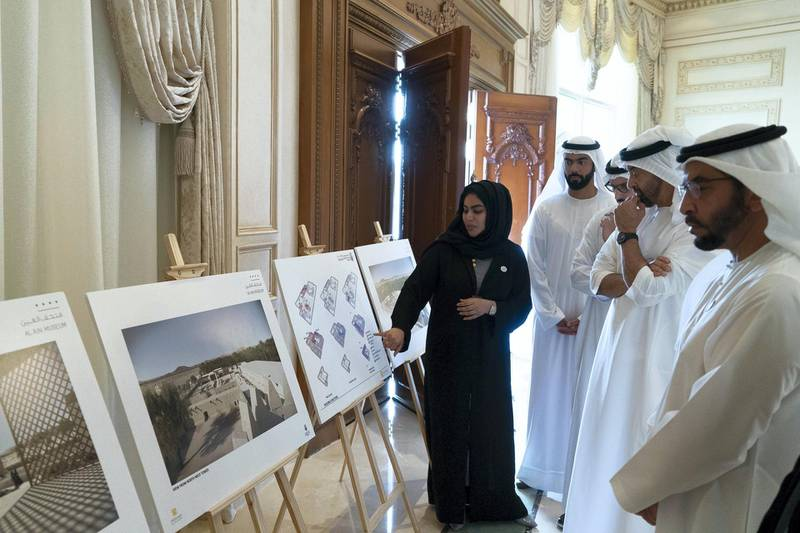 ABU DHABI, UNITED ARAB EMIRATES - October 29, 2018: HH Sheikh Mohamed bin Zayed Al Nahyan Crown Prince of Abu Dhabi Deputy Supreme Commander of the UAE Armed Forces (2nd R), views designs of the new Al Ain Museum, during a Sea Palace barza.��Seen with HH Sheikh Hamdan bin Zayed Al Nahyan, Ruler���s Representative in Al Dhafra Region (R), HE Mohamed Khalifa Al Mubarak, Chairman of the Department of Culture and Tourism and Abu Dhabi Executive Council Member (3rd R) and HE Saif Ghobash, Director General of Abu Dhabi Tourism and Culture Authority (4th R).   (�� / Crown Prince Court - Abu Dhabi ) ---