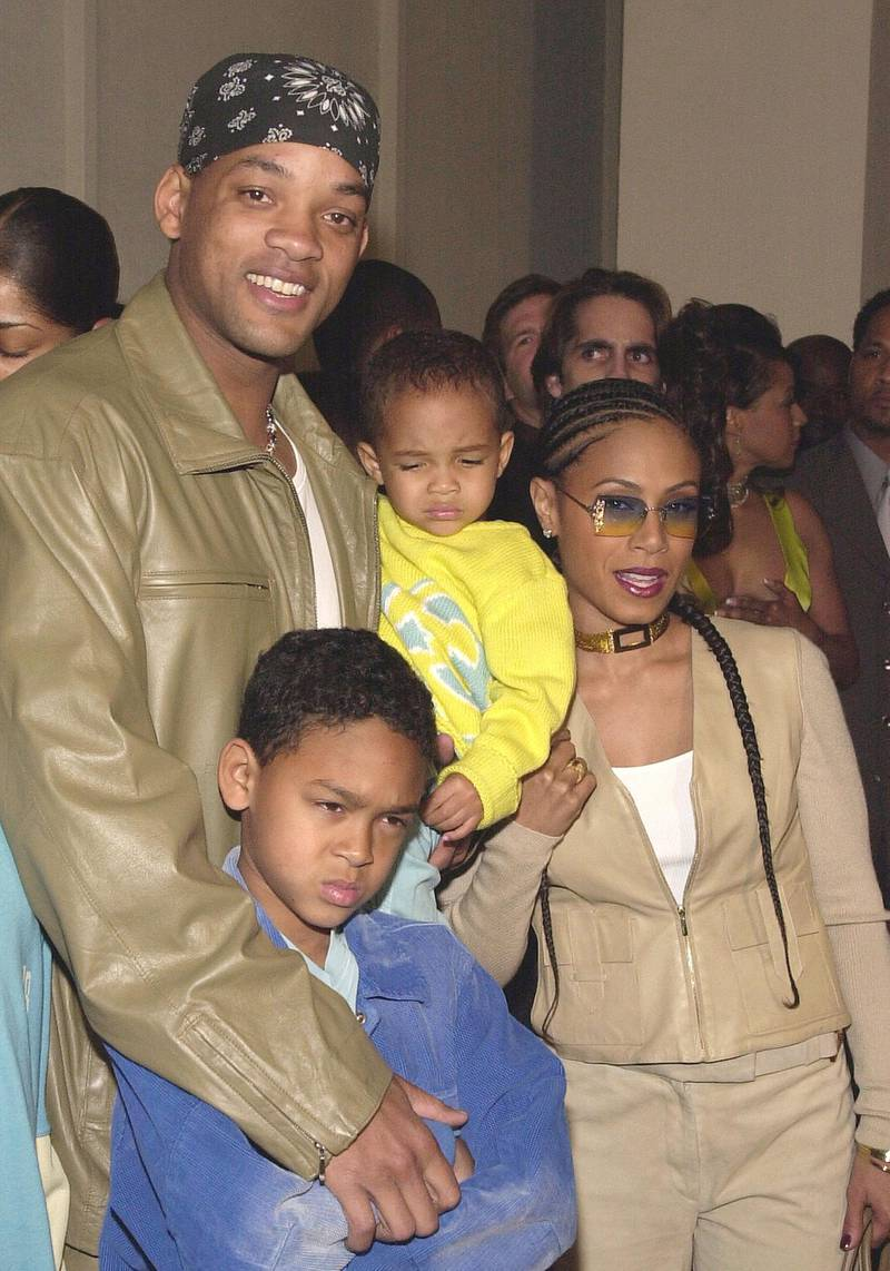 """387430 06: Actors Will Smith, wife Jada Pinkett Smith and their children arrive at the premiere of Fox Searchlight's """"Kingdom Come"""" at the Writer's Guild Theatre April 4, 2001 in Beverly Hills, CA. """"Kingdom Come"""" opens April 11, 2001 in theaters across the United States. (Photo by Chris Weeks/Liaison)"""