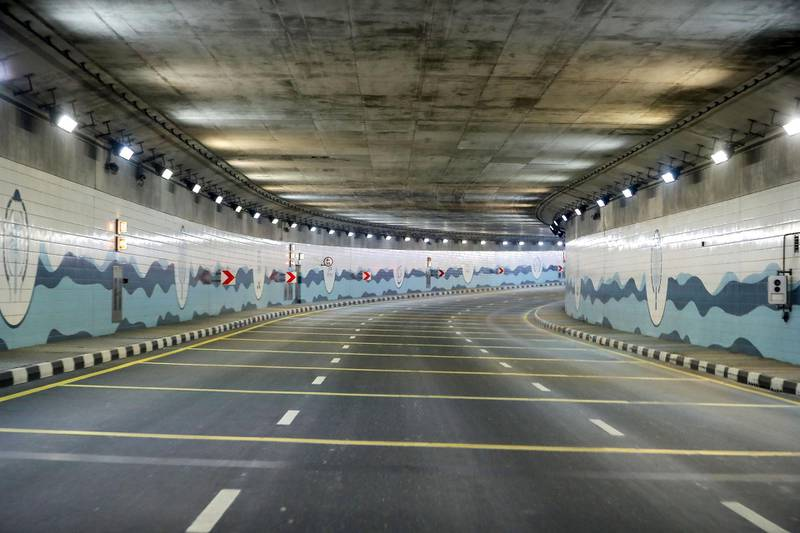 DUBAI, UNITED ARAB EMIRATES , April 17– 2020 :- View of the tunnel near the Atlantis hotel on Palm Jumeirah in Dubai. Dubai is conducting 24 hours sterilisation programme across all areas and communities in the Emirate and told residents to stay at home. UAE government told residents to wear face mask and gloves all the times outside the home whether they are showing symptoms of Covid-19 or not.  (Pawan Singh / The National) For News/Online/Instagram