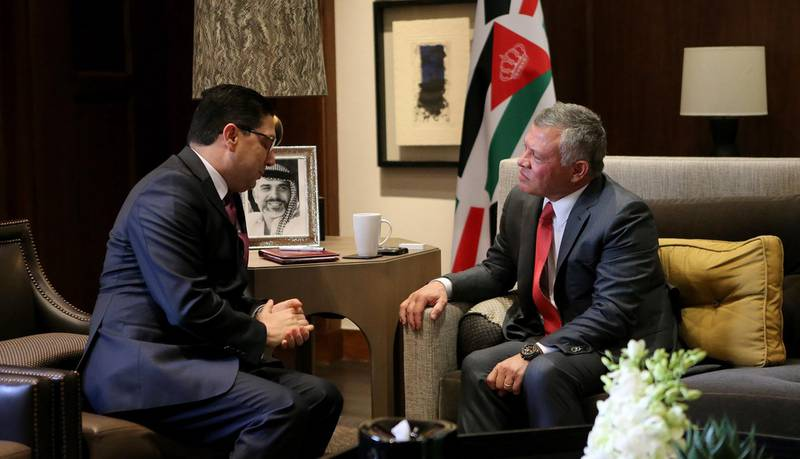 epa06420599 A handout photo made available by the Jordanian Royal Palace shows King Abdullah II of Jordan (R) meeting with Moroccan Foreign Minister Nasser Bourita in Amman, Jordan, 06 January 2018. Jordan is hosting an emergency meeting for the Arab League's Foreign Ministers to follow up on the actions against US decision to recognize Jerusalem as the capital of Israel.  EPA/YOUSEF ALLAN / JORDANIAN ROYAL PALACE HANDOUT  HANDOUT EDITORIAL USE ONLY/NO SALES
