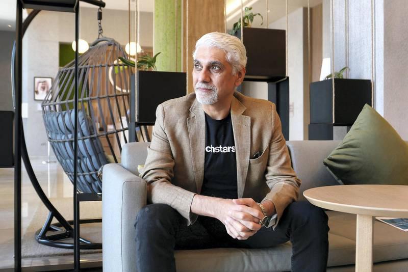 DUBAI, UNITED ARAB EMIRATES , March 8, 2021 – Vijay Tirathrai, managing director of Abu Dhabi based start up accelerator Techstars at the Element hotel in Al Jadaf in Dubai. (Pawan Singh / The National) For Business/Online. Story by Alkesh Sharma