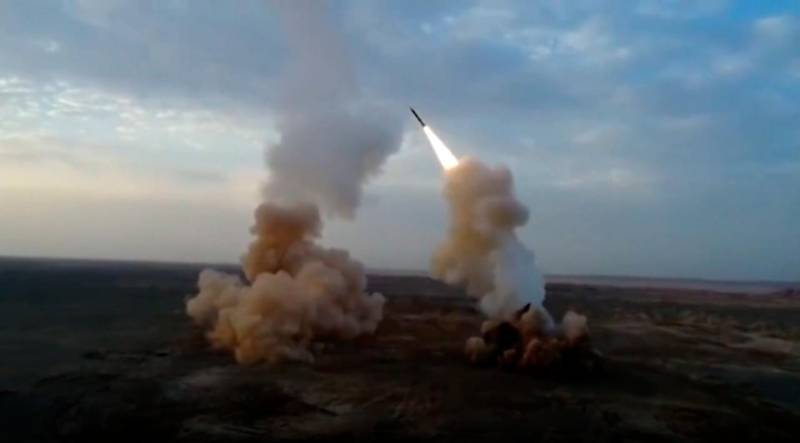 This video grab shows launching underground ballistic missiles by the Iranian Revolutionary Guard during a military exercise. Iran's paramilitary Revolutionary Guard launched underground ballistic missiles as part of an exercise involving a mock-up aircraft carrier in the Strait of Hormuz, state television reported Wednesday. (IRGC via AP)