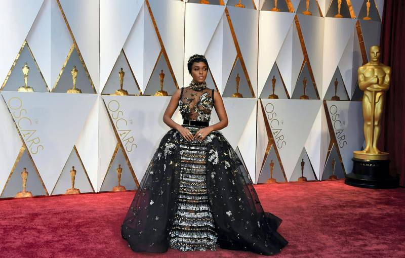 Musician Janelle Monae arrives on the red carpet for the 89th Oscars on February 26, 2017 in Hollywood, California. (Photo by VALERIE MACON / AFP)