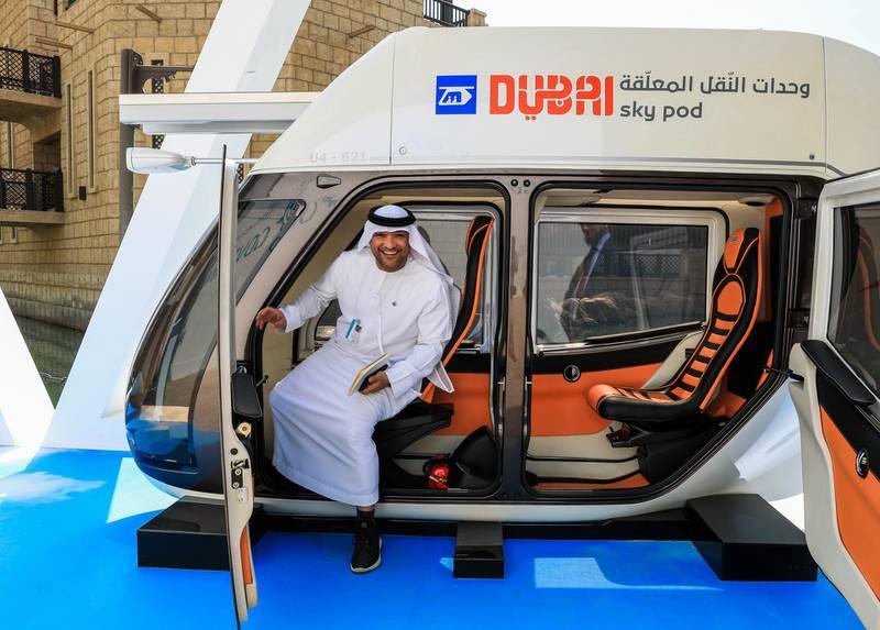 Dubai, U.A.E., February 10, 2019.  Dubai A A summit goer checks out the Dubai Sky Pod.Victor Besa/The NationalSection:  NAReporter:  Rupert Hawksley