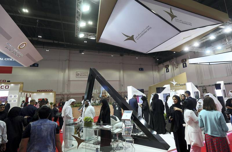 Dubai, April 09, 2018: Visitors at the Annual Investment Meeting at the world trade centre in Dubai. Satish Kumar for the National /Story by Deena Kamel