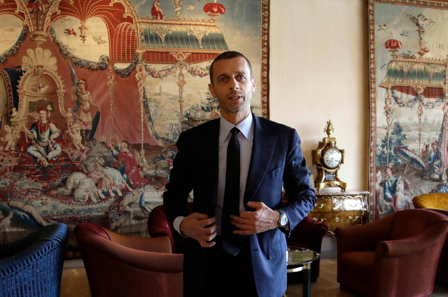 UEFA President Aleksander Ceferin talks during an interview at the end of European Club Association's (ECA) 20th General Assembly, in the organization's 10-year anniversary in Rome, Tuesday, March 27, 2018. (AP Photo/Alessandra Tarantino)