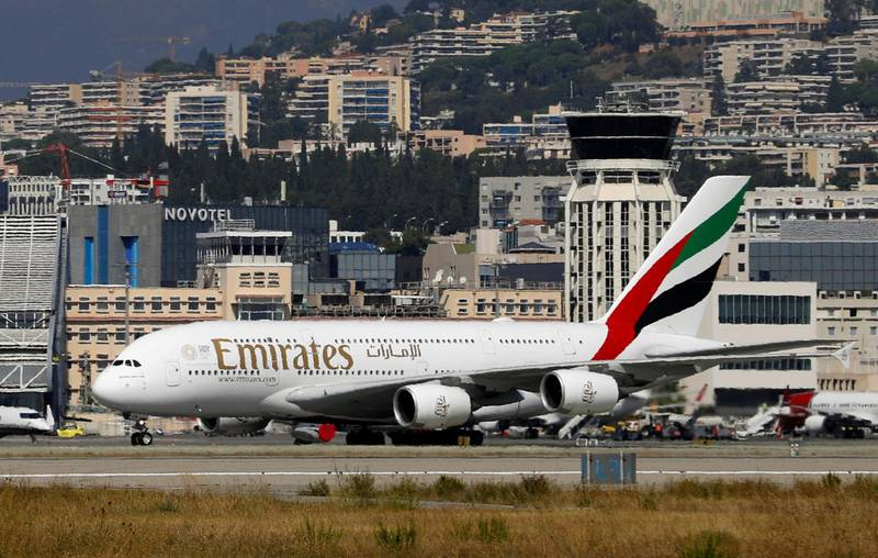 An Emirates Airbus A380 plane is seen at Nice International airport in Nice, France, September 19, 2018.  REUTERS/Eric Gaillard