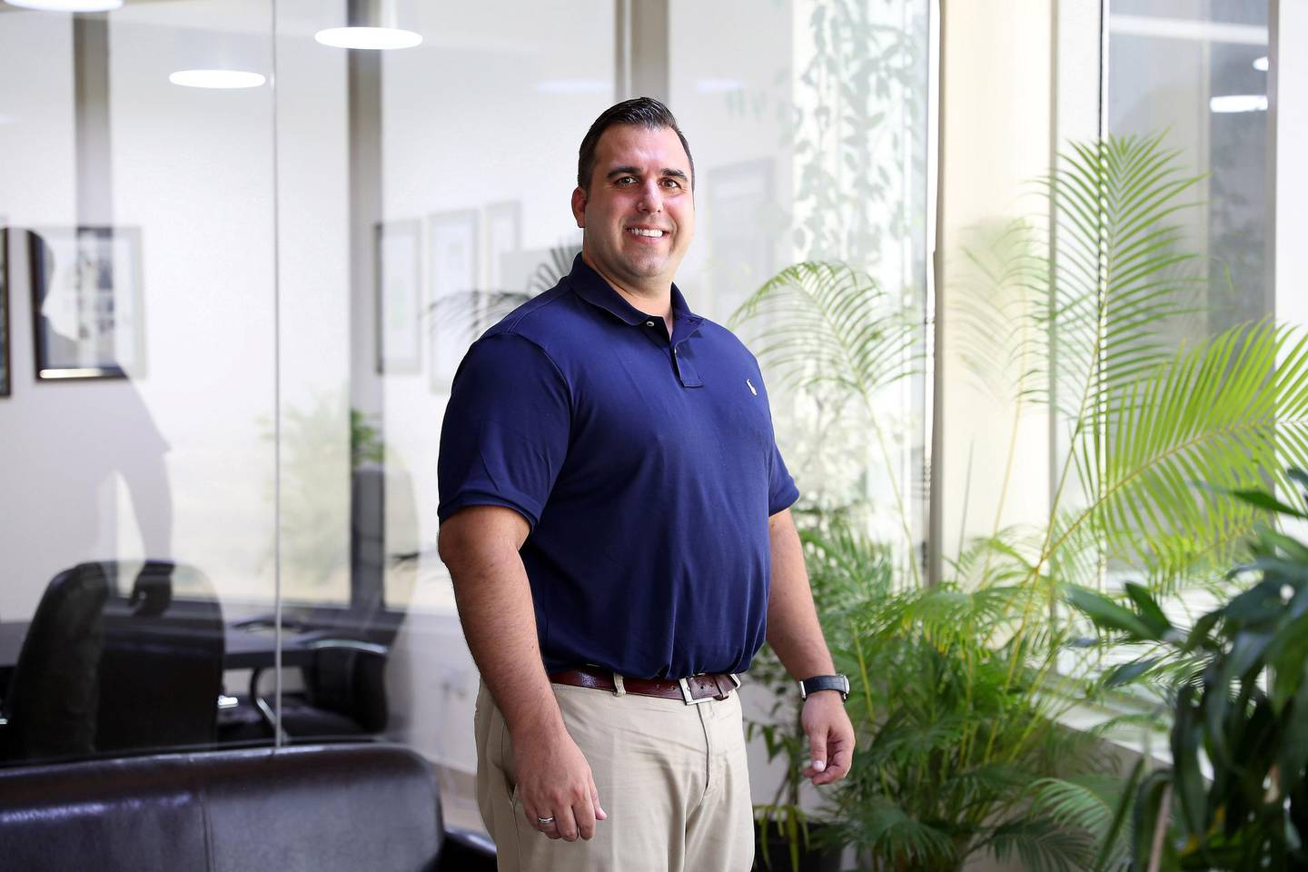 DUBAI ,  UNITED ARAB EMIRATES , JUNE 13 – 2019 :- Peter Davos, founder of Hale Education Consultancy and the son of uneducated Greek immigrants who graduated first in his class at Harvard at his office in the SIT Tower in Dubai Silicon Oasis in Dubai. ( Pawan Singh / The National ) For POAN. Story by Anam