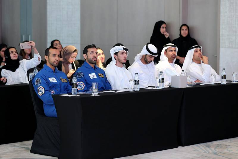 Dubai, United Arab Emirates - Reporter: Sarwat Nasir: The UAE's first Emirati astronaut Hazza Al Mansoori and back-up astronaut Sultan Al Nayadi (R). Press conference by MBRSC to announce details of search for next UAE astronaut. Tuesday, 3rd of March, 2020. Downtown, Dubai. Chris Whiteoak / The National