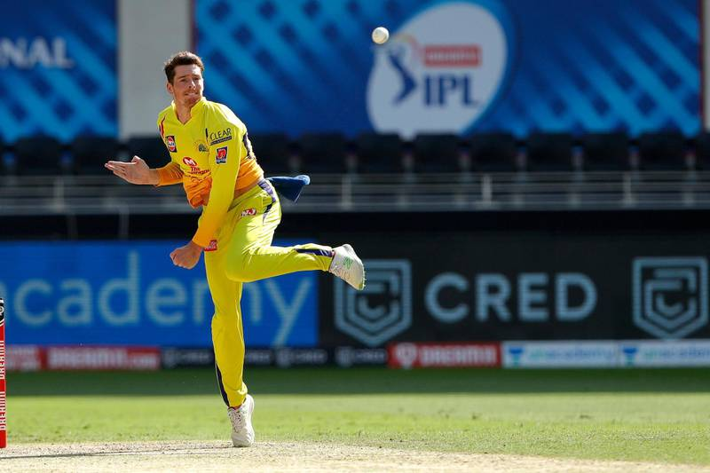 Mitchell Santner of the Chennai Superkings bowling during match 44 of season 13 of the Dream 11 Indian Premier League (IPL) between the Royal Challengers Bangalore and the Chennai Super Kings held at the Dubai International Cricket Stadium, Dubai in the United Arab Emirates on the 25th October 2020.  Photo by: Saikat Das  / Sportzpics for BCCI