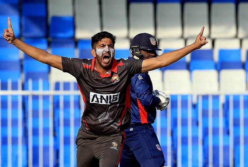 Sharjah, December, 08 2019: Junaid Siddique of UAE celebrates after dismissing Steven Taylor of USA during the ICC Men's Cricket World Cup League 2 match at the Sharjah Cricket Stadium in Sharjah . Satish Kumar/ For the National / Story by Paul Radley