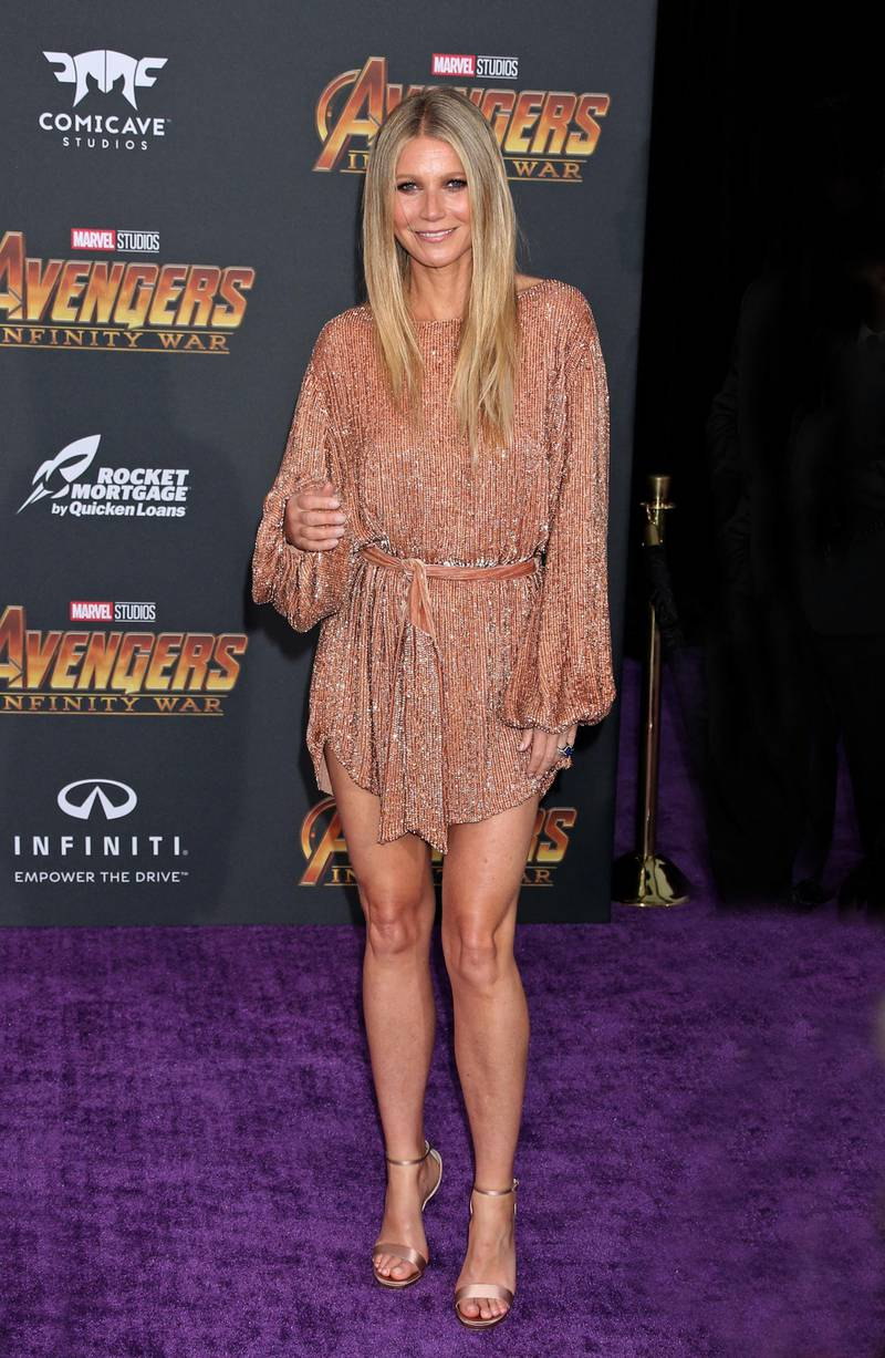epa06688368 Gwyneth Paltrow poses at the world premiere of Marvel Studios' Avengers: Infinity War at the El Capitan and TCL Chinese Theaters, in Hollywood, Los Angeles, California, USA, 23 April 2018 (issued 24 April 2018).  EPA-EFE/Jimmy Morrison