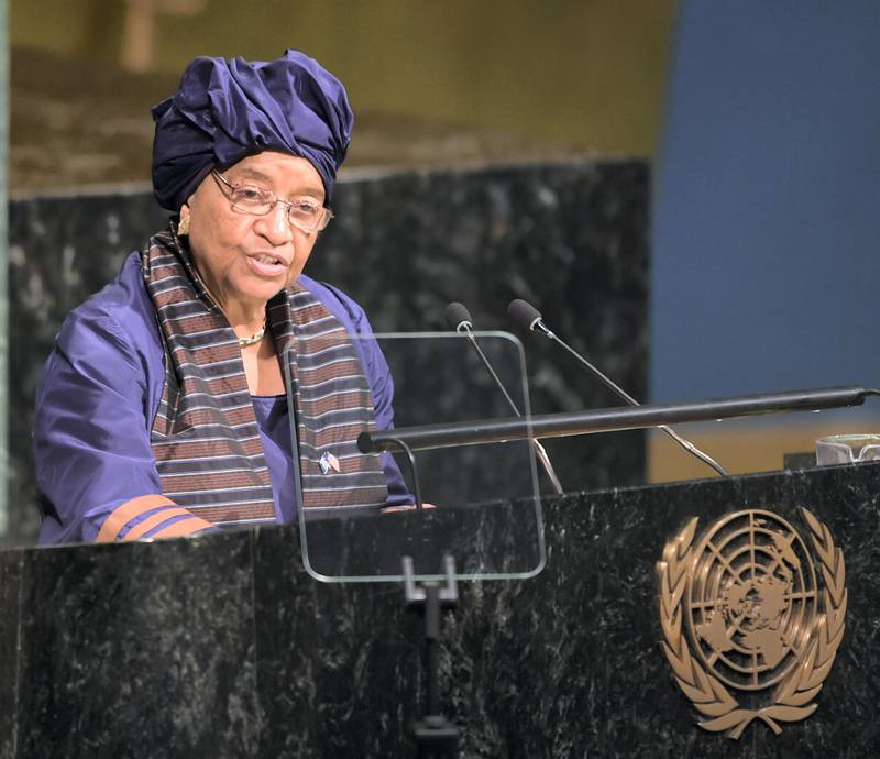 Ellen Johnson-Sirleaf, President of the Republic of Liberia, addresses the United Nations General Assembly September 19, 2017 at the United Nations in New York. / AFP PHOTO / DON EMMERT