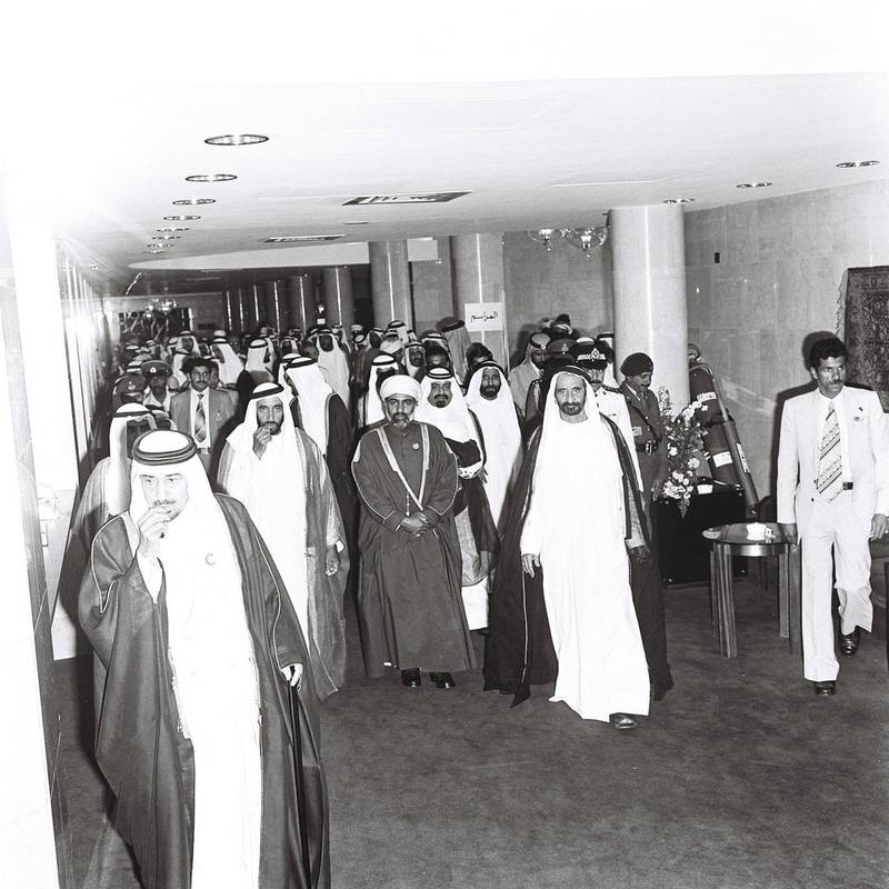 1st GCC Meeting at InterContinental Abu Dhabi - Sheikh Zayed Al Nahyan and the Sultan of Oman