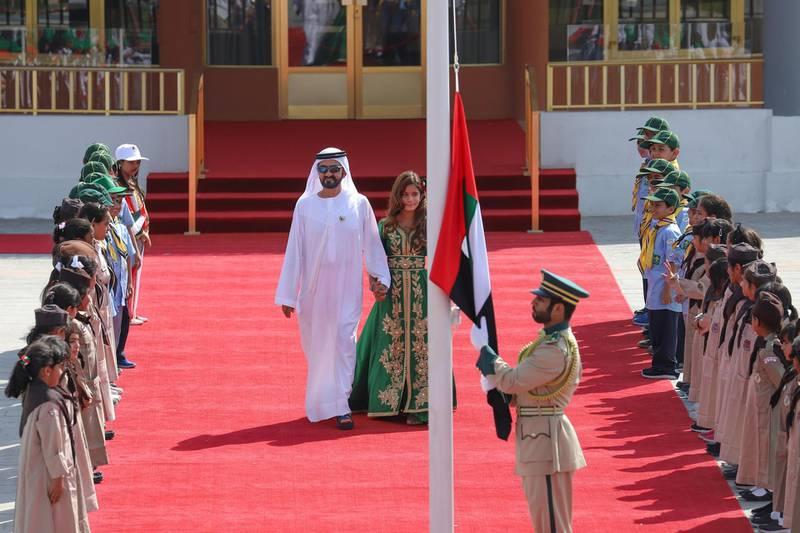 Vice President and Prime Minister of the UAE and Ruler of Dubai His Highness Sheikh Mohammed bin Rashid Al Maktoum celebrates UAE Flag Day at Union House. WAM
