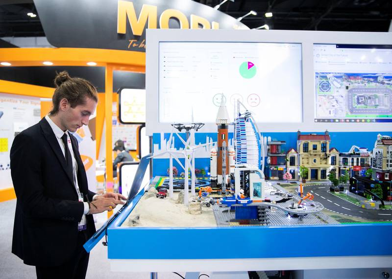 DUBAI, UNITED ARAB EMIRATES. 06 OCTOBER 2019. Software smart city model during Gitex Technology Week at Dubai World Trade Center.(Photo: Reem Mohammed/The National)Reporter:Section: