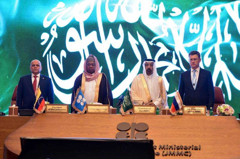 Saudi Arabian Energy Minister Khalid al-Falih, Mohammed Barkindo, Secretary General of OPEC, Russian Energy Minister Alexander Novak and Venezuela's Oil Minister Manuel Quevedo stand for the Saudi Arabia anthem during the OPEC 14th Meeting of the Joint Ministerial Monitoring Committee in Jeddah, Saudi Arabia, May 19, 2019.  REUTERS/Waleed Ali