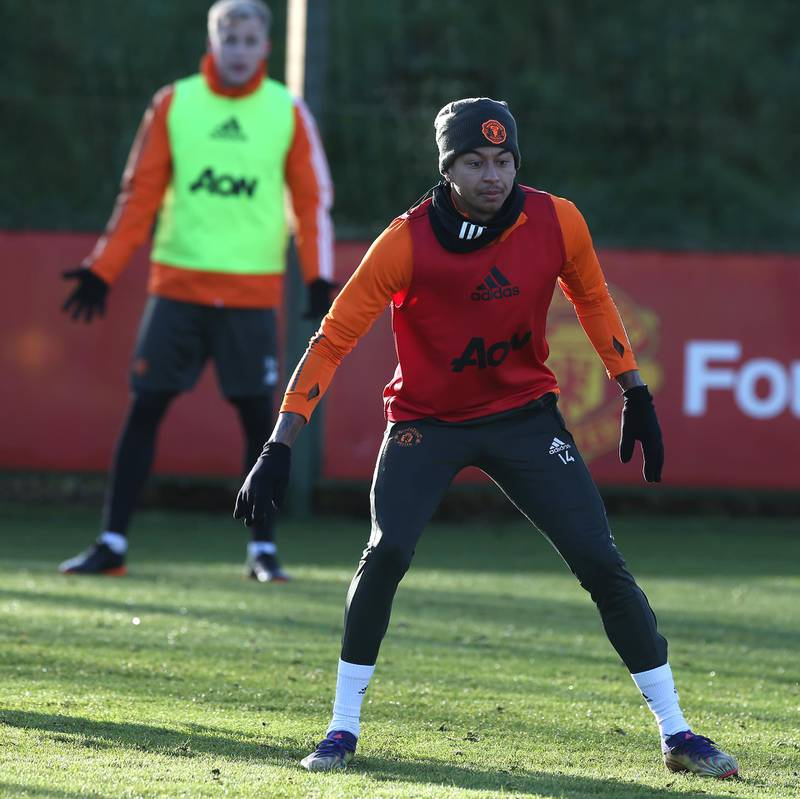 MANCHESTER, ENGLAND - DECEMBER 27: (EXCLUSIVE COVERAGE) Jesse Lingard of Manchester United in action during a first team training session at Aon Training Complex on December 27, 2020 in Manchester, England. (Photo by Matthew Peters/Manchester United via Getty Images)