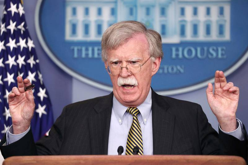 U.S. National Security Advisor John Bolton answers a question from a reporter about how he refers to Palestine during a news conference in the White House briefing room in Washington, U.S., October 3, 2018.    REUTERS/Jonathan Ernst