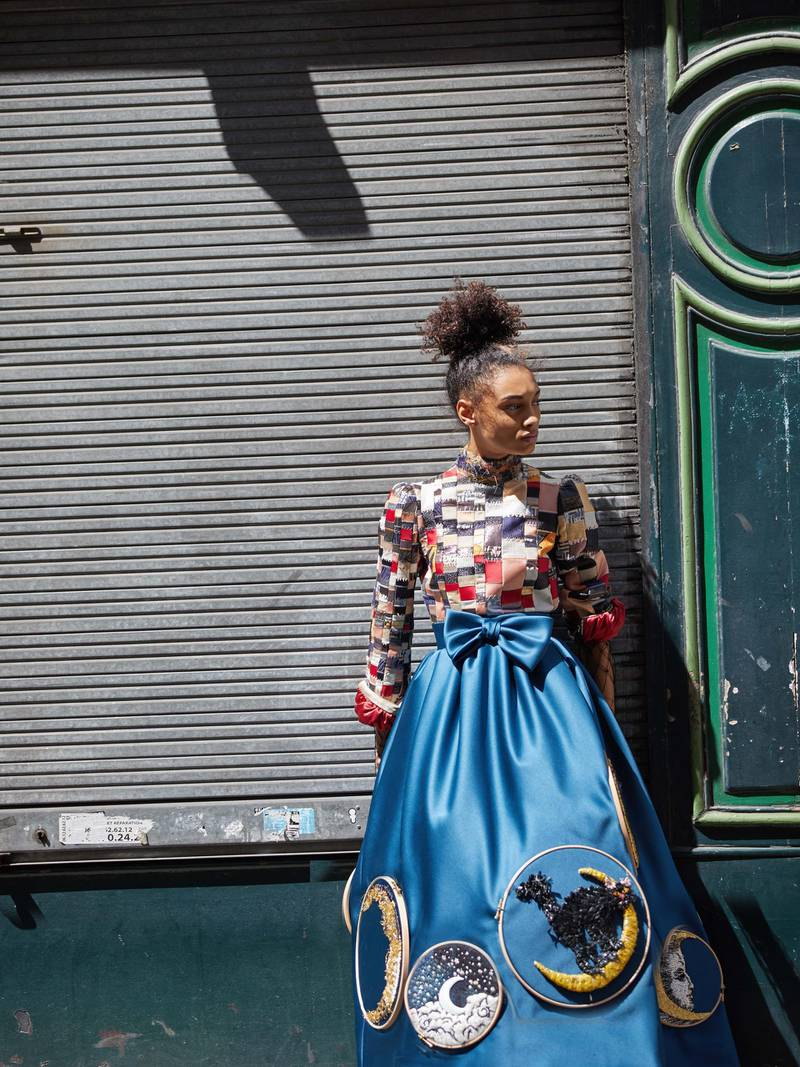 through the lens: Photography   Chantelle Dosser fashion director   Sarah MaiseyLong-sleeve top made from a patchwork of vintage materials; and petrol blue high-waisted skirt with embroidered moon artworks, both from Viktor & Rolf Haute Couture