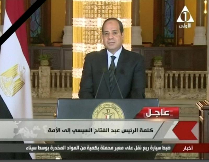 Egyptian President Abdel Fattah Al Sisi gives a televised statement on the attack in North Sinai, in Cairo, Egypt November 24, 2017 in this still taken from video. EGYPT STATE TV/ via REUTERS    THIS IMAGE HAS BEEN SUPPLIED BY A THIRD PARTY. NO RESALES. NO ARCHIVES. EGYPT OUT. BROADCASTERS: NO ACCESS EGYPT DIGITAL: NO ACCESS EGYPT. FOR REUTERS CUSTOMERS ONLY.